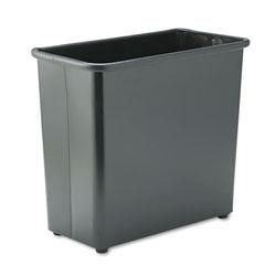 Safco Rectangular Wastebasket, Steel, 27.5 qt, Black