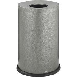 Safco Open Top Receptacle,35 Gallon,19-3/4 inx28-1/2 in,Black/Silver
