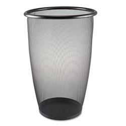 Safco Onyx Round Mesh Wastebasket, Steel Mesh, 9 gal, Black
