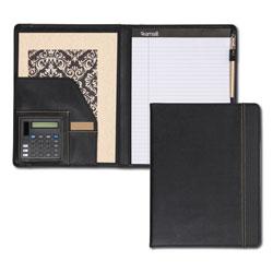 Samsill Slimline Padfolio, Leather-Look/Faux Reptile Trim, Writing Pad, Black