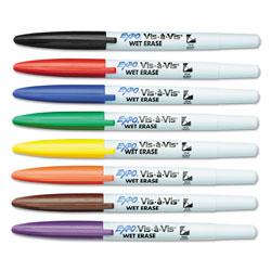 Vis â Vis® Vis-à-Vis Wet Erase Marker, Fine Bullet Tip, Assorted Colors, 8/Set