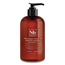 Soapbox Hand Soap, Coconut Milk and Sandalwood, 12 oz Pump Bottle, 3/Box