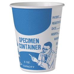 Solo Paper Specimen Cups, 8 oz, Blue/White, 20/Carton