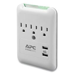 APC SurgeArrest Wall-Mount Surge Protector, 3 AC Outlets, 2 USB Ports, 540 J, White