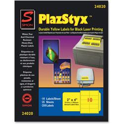 """Simon Marketing Laser Labels, 2""""x4"""", 25/PK, Yellow"""