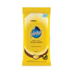Pledge Lemon Scent Wet Wipes, Cloth, 7 x 10, White, 24/Pack, 12 Packs/Carton