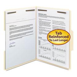 Smead Top Tab 2-Fastener Folders, 1/3-Cut Tabs, Letter Size, 11 pt. Manila, 50/Box