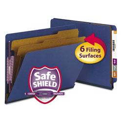 Smead End Tab Pressboard Classification Folders with SafeSHIELD Fasteners, 2 Dividers, Letter Size, Dark Blue, 10/Box