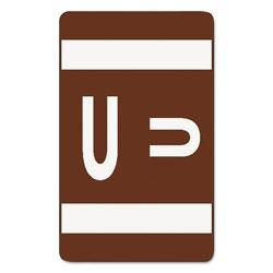 Smead AlphaZ Color-Coded Second Letter Alphabetical Labels, U, 1 x 1.63, Dark Brown, 10/Sheet, 10 Sheets/Pack