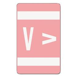 Smead AlphaZ Color-Coded Second Letter Alphabetical Labels, V, 1 x 1.63, Pink, 10/Sheet, 10 Sheets/Pack