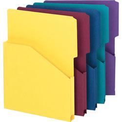 "Smead Slash Pocket Recycled Jackets, 1"" Exp., Letter, 2/5 Cut Tab, Asst. Colors, 5/Pack"