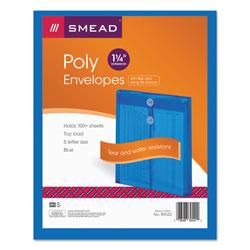 Smead Poly String & Button Interoffice Envelopes, String & Button Closure, 9.75 x 11.63, Transparent Blue, 5/Pack