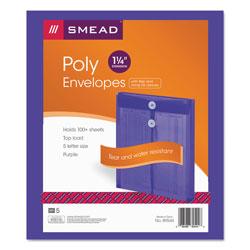 Smead Poly String & Button Interoffice Envelopes, String & Button Closure, 9.75 x 11.63, Transparent Purple, 5/Pack