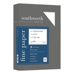 Southworth 25% Cotton Diamond White Business Paper, 95 Bright, 20 lb, 8.5 x 11, 500/Ream