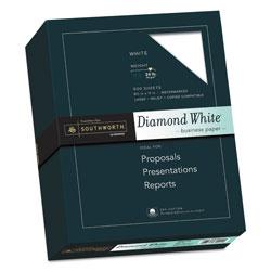 Southworth 25% Cotton Diamond White Business Paper, 95 Bright, 24 lb, 8.5 x 11, 500/Ream
