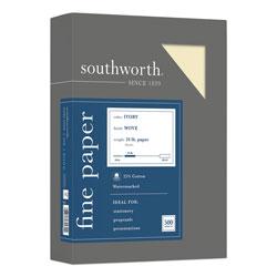 Southworth 25% Cotton Business Paper, 95 Bright, 24 lb, 8.5 x 11, Ivory, 500/Ream