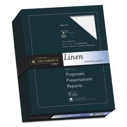 Southworth 25% Cotton Linen Business Paper, 91 Bright, 24 lb, 8.5 x 11, White, 500/Ream