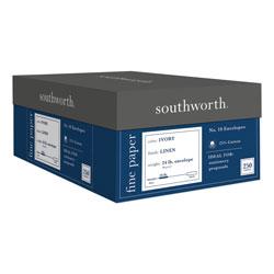 Southworth 25% Cotton Linen #10 Envelope, Commercial Flap, Gummed Closure, 4.13 x 9.5, Ivory, 250/Box