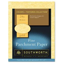 Southworth Parchment Specialty Paper, 24 lb, 8.5 x 11, Gold, 100/Pack