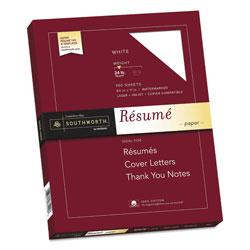 Southworth 100% Cotton Resume Paper, 95 Bright, 24 lb, 8.5 x 11, White, 100/Pack