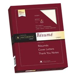 Southworth 100% Cotton Resume Paper, 32 lb, 8.5 x 11, Ivory, 100/Pack
