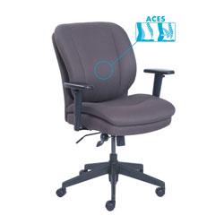 SertaPedic Cosset Ergonomic Task Chair, Supports up to 275 lbs., Gray Seat/Gray Back, Black Base