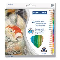 Staedtler Triangular Watercolor Pencil Set, 2.9 mm, H (#3), Assorted Lead/Barrel Colors, 24/Pack