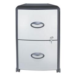 Storex Two-Drawer Mobile Filing Cabinet, Metal Siding, 19w x 15d x 23h, Silver/Black