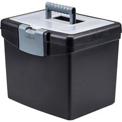 Storex Portable File Box, Letter Size, 14w x 11-1/4d x 14-1/2h, Supply Compartment, BK