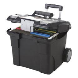 Storex Premium File Cart, 15w x 16.38d x 14.25 to 30h, Black