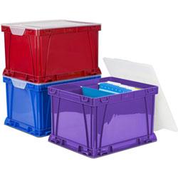 Storex Plastic Storage Cube, 14-1/4 in x 17-14 in x 10-1/2 in, 3/ST, Ast