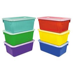 Storex Cubby Bins, 12.25 x 7.75 x 5.13, Assorted, 6/Pack