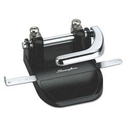 Swingline 40-Sheet Heavy-Duty Steel Two-Hole Punch, 1/4 in Holes, Steel, Black/Chrome