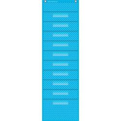 Teacher Created Resources Polka Dot Storage, 10 Pocket, 14 in x 46-1/2 in, Aqua