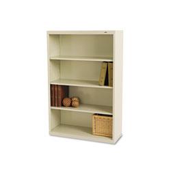 Tennsco Metal Bookcase, Four-Shelf, 34-1/2w x 13-1/2d x 52-1/2h, Putty