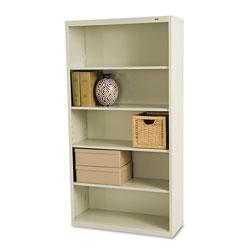 Tennsco Metal Bookcase, Five-Shelf, 34-1/2w x 13-1/2d x 66h, Putty