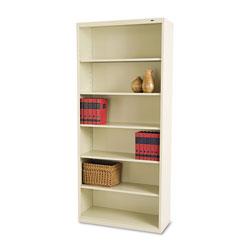 Tennsco Metal Bookcase, Six-Shelf, 34-1/2w x 13-1/2h x 78h, Putty