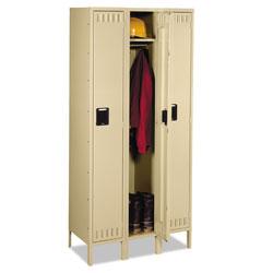 Tennsco Single Tier Locker with Legs, Three Units, 36w x 18d x 78h, Sand