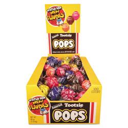 Tootsie Roll® Tootsie Pops, 0.76 oz, Assorted Flavors, 100/Box