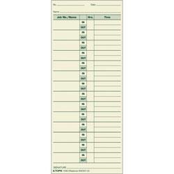 "TOPS Job Cards, 3 1/2""x8 1/2"", 500/BX, Green Ink/Manila Paper"