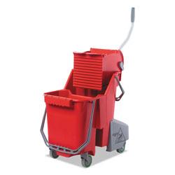 Unger Side-Press Restroom Mop Dual Bucket Combo, 8gal, Plastic, Red