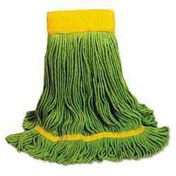 Unisan EcoMop Looped-End Mop Head, Recycled Fibers, Medium Size, Green