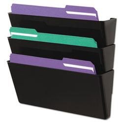 Universal Office Products Wall File, Three Pocket, Plastic, Black