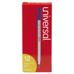 Universal Office Products Stick Ballpoint Pen, Medium 1mm, Blue Ink, Gray Barrel, Dozen