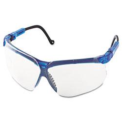 Uvex Safety Genesis Shooting Glasses, Vapor Blue Frame, Clear Lens, 10/Carton