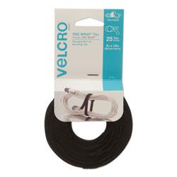 Velcro ONE-WRAP Hook & Loop Ties, 1/4 in x 8 in, Black, 25/Pack
