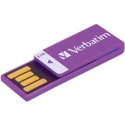 Verbatim Flash Drive, Capless, Water-resistant, 16GB, Violet