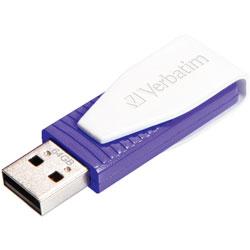 Verbatim Flash Drive, USB 2.0, Swivel Cap, 64GB, Purple