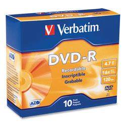 Verbatim DVD-R Discs, 4.7GB, 16x, w/Slim Jewel Cases, 10/Pack