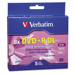 Verbatim Dual-Layer DVD+R Discs, 8.5GB, 8x, w/Jewel Cases, 5/Pack, Silver
